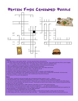 Nutrition: Protein Foods Crossword Puzzle