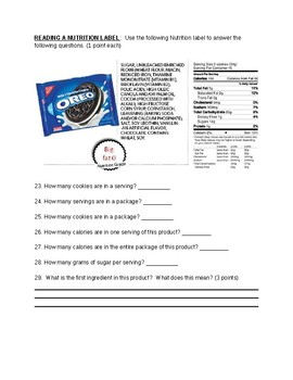 Nutrition Quiz with Answer Key