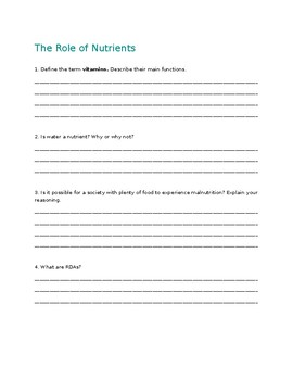 Nutrition Study Guide: Nutrients and Digestion