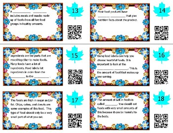 Nutrition Task Cards -- Science