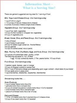 Nutrition Unit Lesson 2 -- One Day Food Menu