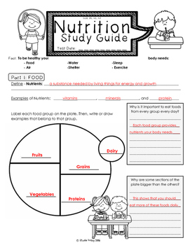 Nutrition Unit Study Guide