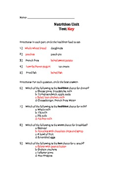 Nutrition Unit Test with Answer Key