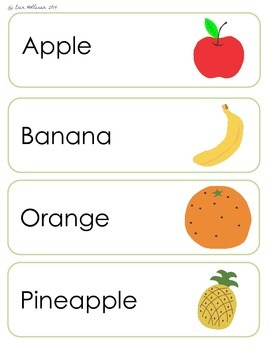 Nutrition Vocabulary Cards and Spelling Practice - Fruits and Vegetables
