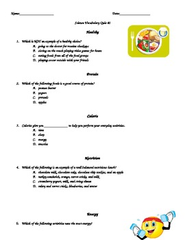 Nutrition Vocabulary Quiz