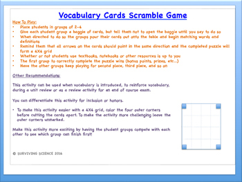 Nutrition Vocabulary Scramble Game: Anatomy and Medical Terminology
