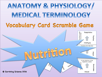 Nutrition Vocabulary Scramble Game: Anatomy and Medical Te