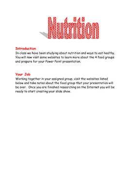 Nutrition Webquest - Grades 2-3