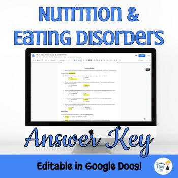 Nutrition and Eating Disorders Unit Pretest - Editable in Google Docs