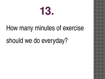 Nutrition and Exercise Quiz