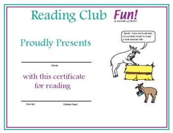 Nutrition and Food Groups Reading Log and Certificate Set