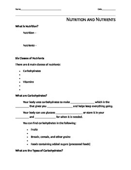 Nutrition and Nutrients Notes