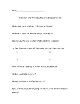 Nutrition and Wellness First Day Questionnaire