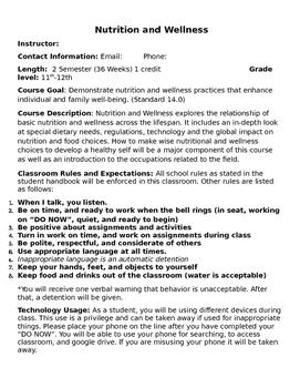 Nutrition and Wellness Syllabus (Editable)
