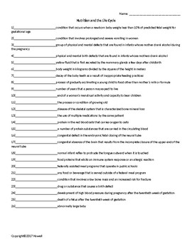 Nutrition and the Life Cycle Quiz or Worksheet for Nutrition and Health Students