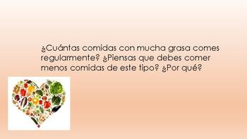 Nutrition communication questions - Spanish - Avancemos 6.2