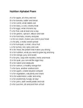 Nutrition poem