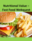 Nutritional Value - Fast Food Webquest Distance Learning