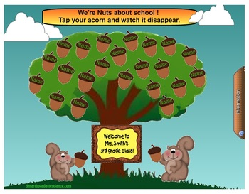 Nuts About School Animated Attendance file for the Smartboard K-5