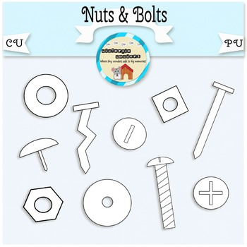 Nuts & Bolts Clipart - screw - nail - tack - washers - tools - hardware