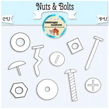 Nuts & Bolts Clipart - screw - nail - tack - washers - tools - hardware