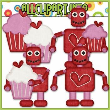 BUNDLED SET - Nuts & Bolts Valentine Robots 1 Clip Art & Digital Stamp Bundle