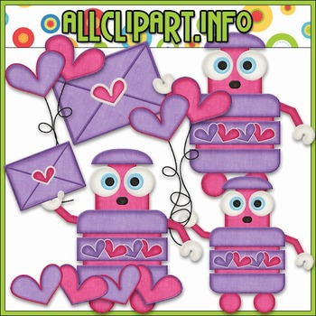 BUNDLED SET - Nuts & Bolts Valentine Robots 2 Clip Art & Digital Stamp Bundle