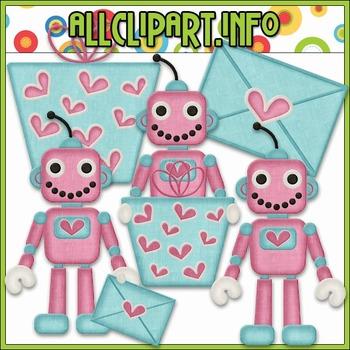 BUNDLED SET - Nuts & Bolts Valentine Robots 3 Clip Art & Digital Stamp Bundle