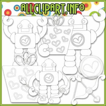 BUNDLED SET - Nuts & Bolts Valentine Robots 4 Clip Art & Digital Stamp Bundle