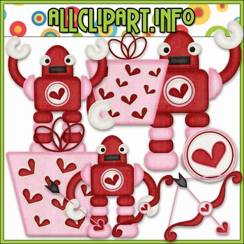BUNDLED SET - Nuts & Bolts Valentine Robots 4 Clip Art & D
