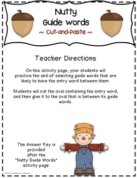 Nutty Guide Words - Fall Theme CCSS Dictionary Skills Activity