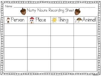Nutty Nouns Center and Craft