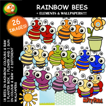 Nutty Rainbow Bee Clip Art