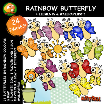 Nutty Rainbow Butterfly Clip Art