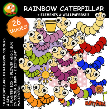 Nutty Rainbow Caterpillar Clip Art