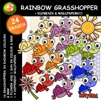 Nutty Rainbow Grasshopper Clip Art