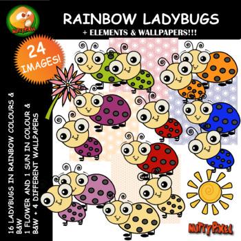 Nutty Rainbow Ladybug Clip Art