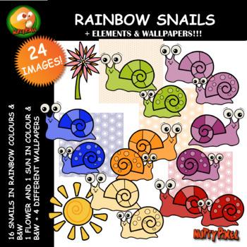 Nutty Rainbow Snail Clip Art
