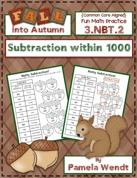 Nutty Subtraction - Fall Theme CCSS Subtraction within 100