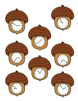 Nutty Time - Acorn Telling Time to Five Minutes Math Center Game