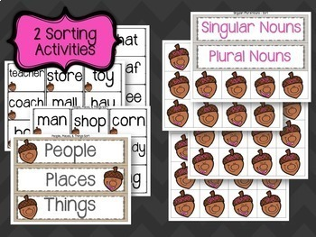 Fall Nouns Centers and Worksheets