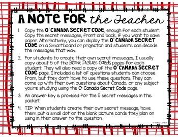 O' Canada Secret Decoder Messages