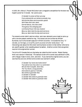 O Canada is Gender Neutral Again - FREE Literacy Activity