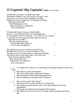 O Captain My Captain - Poetry Analysis Assessment Quiz