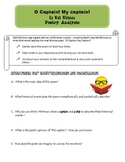 O Captain! My Captain! Poetry Analysis Sheets