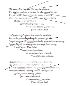 O Captain! My Captain! poem with vocab activities and questions - PRINTABLE