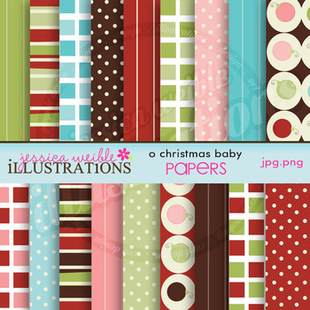 O Christmas Baby Matching Digital Papers, Christmas Papers, Winter