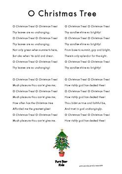 O Christmas Tree - Christmas Song Sheet Lyrics by Pure Star Kids