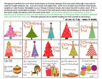 O Christmas Tree Quick Drill {for articulation or fluency therapy & RTi}