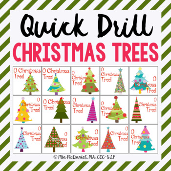 Quick Drill Christmas Trees {for speech therapy or any skill drill}